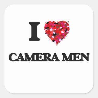 J'aime des hommes d'appareil-photo sticker carré