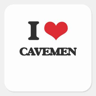 J'aime des hommes des cavernes sticker carré