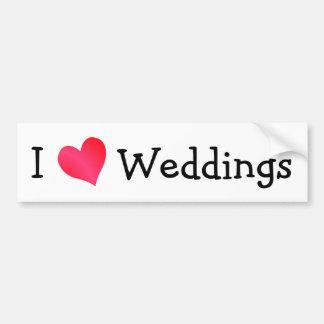 J'aime des mariages autocollant de voiture