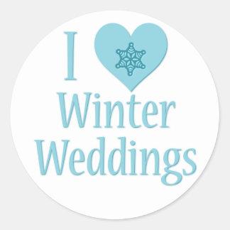 J'aime des mariages d'hiver adhésif rond