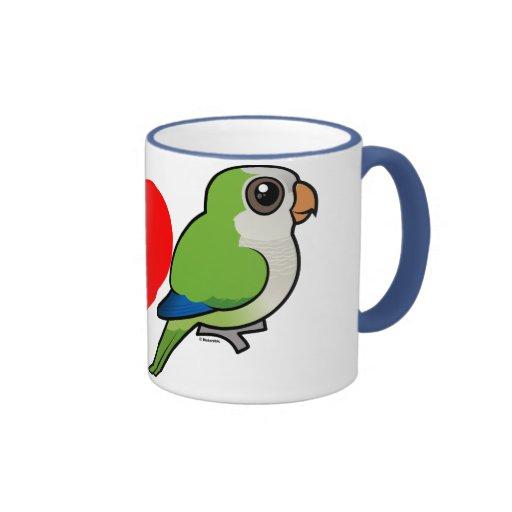 J'aime des perruches de moine tasse à café