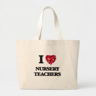J'aime des professeurs de crèche sac en toile jumbo