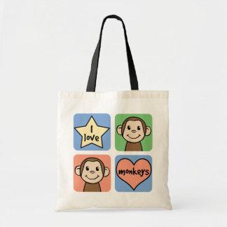 J'aime des singes sac en toile budget
