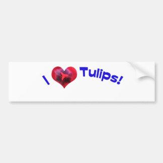 J'aime des tulipes bleues autocollant de voiture
