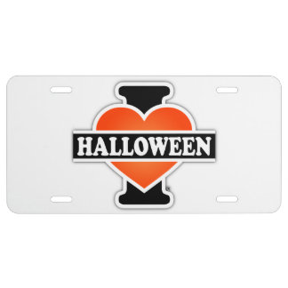 J'aime Halloween #1 Plaque D'immatriculation