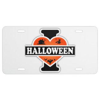 J'aime Halloween #2 Plaque D'immatriculation
