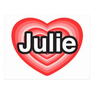 J'aime Julie. Je t'aime Julie. Coeur Carte Postale