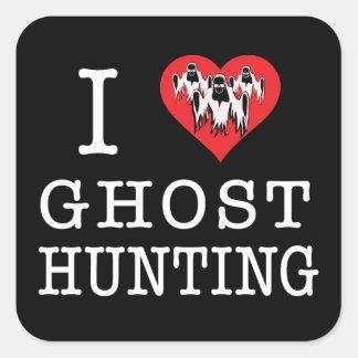 J'aime la chasse de fantôme autocollants carrés
