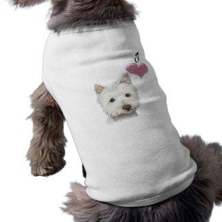 J'aime la conception d'art de chien de Westie Vêtement Pour Chien