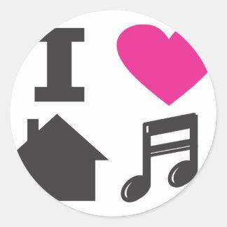 J'aime la musique de maison sticker rond