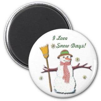 J'aime l'aimant du jour de neige magnet rond 8 cm