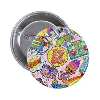 J'aime le bouton des années 80 ! macaron rond 5 cm