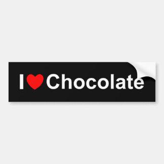 J'aime le chocolat (de coeur) autocollant de voiture