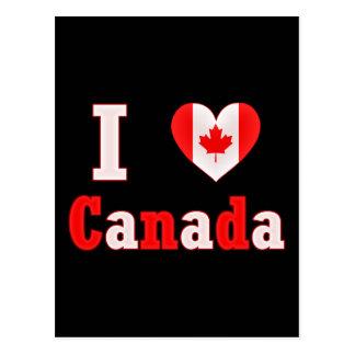 J'aime le coeur de feuille d'érable du Canada Cartes Postales