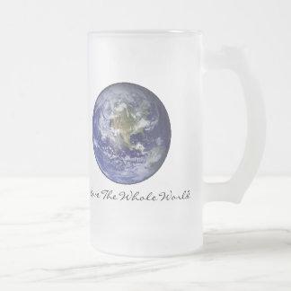 J'aime le monde entier mug en verre givré