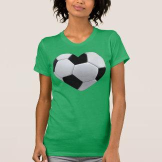 J'aime le T-shirt de ballon de football de coeur