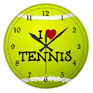J'aime le tennis - balle de tennis grande horloge ronde