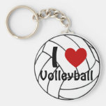 J'aime le volleyball porte-clé rond