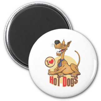 J'aime les hot-dogs magnet rond 8 cm