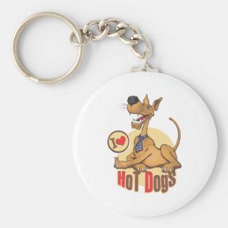 J'aime les hot-dogs porte-clé rond