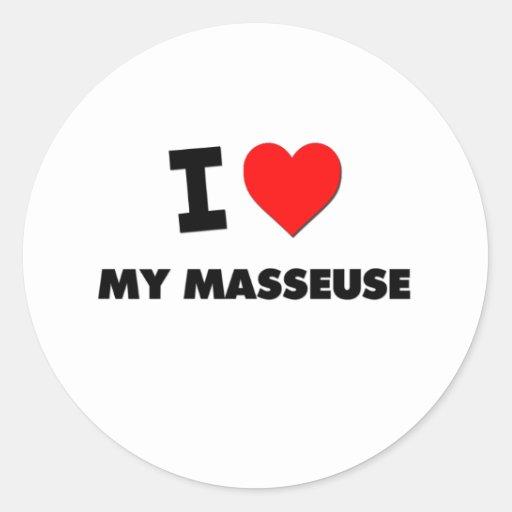 J'aime ma masseuse autocollants ronds