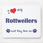 J'aime mes rottweilers (les chiens multiples) tapis de souris