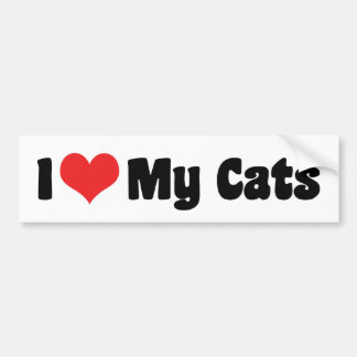J'aime mon adhésif pour pare-chocs de chats autocollant pour voiture