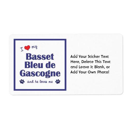 J'aime mon Basset Bleu de Gascogne (le chien mascu Étiquettes D'expédition