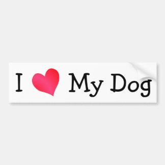 J'aime mon chien autocollant pour voiture