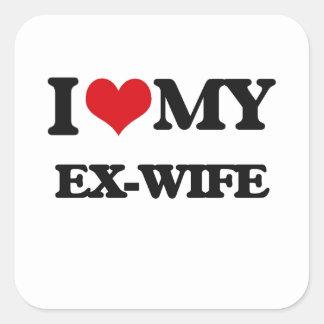 J'aime mon ex-femme sticker carré