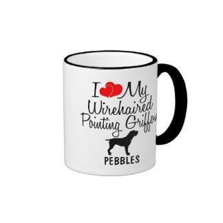 J'aime mon griffon de pointage à poils durs mug ringer