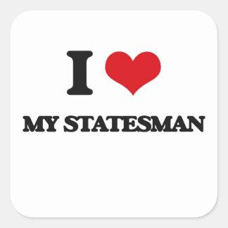 J'aime mon homme d'état sticker carré