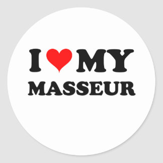 J'aime mon masseur sticker rond