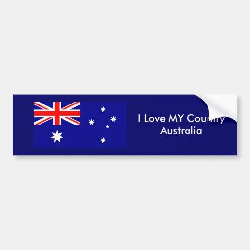 J'aime MON modèle de drapeau de l'Australie de pay Autocollants Pour Voiture