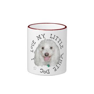 J'aime mon petit chien blanc (de délivrance) mugs à café