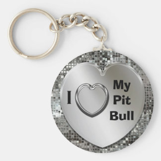 J'aime mon porte - clé de coeur de pitbull porte-clé rond