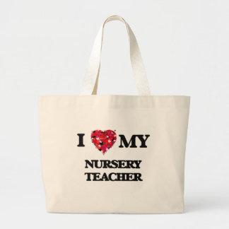 J'aime mon professeur de crèche sac en toile jumbo