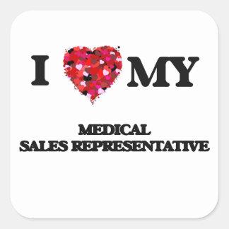 J'aime mon représentant de commerce médical sticker carré