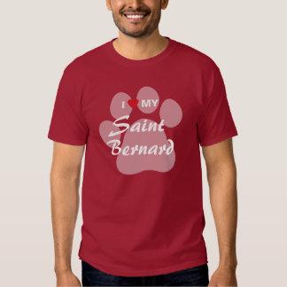 J'aime mon St Bernard Pawprint T Shirts
