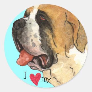 J'aime mon St Bernard Sticker Rond