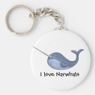 J'aime Narwhals Porte-clé Rond