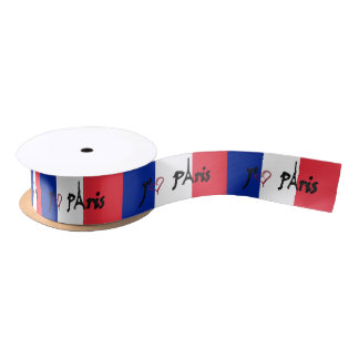 j'aime Paris French flag ribbon Satin Ribbon