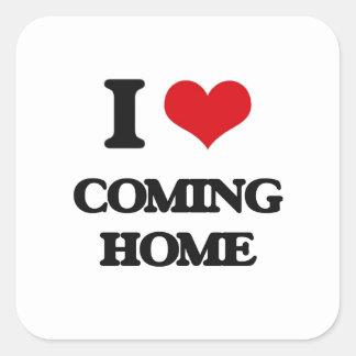 J'aime venir à la maison sticker carré