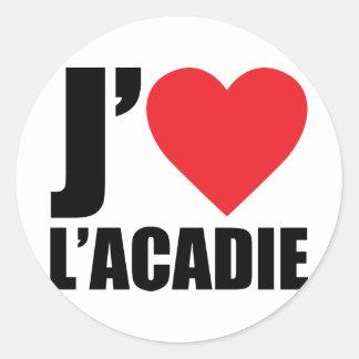 J'aimeL' acadie Classic Round Sticker