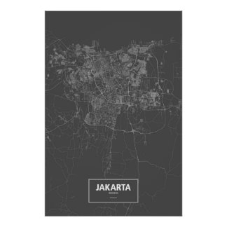 Jakarta, Indonesia (white on black) Poster