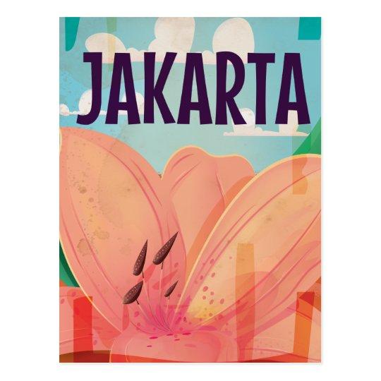 Jakarta Vintage Travel Poster Postcard