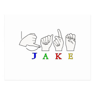 JAKE FINGERSPELLED NAME ASL SIGN POSTCARD