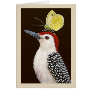 Jake the red-bellied woodpecker greeting card