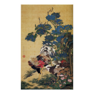 Jakuchu, Rooster and Hen with Hydrangeas Posters