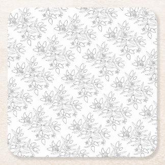 Jalapeno Spray Line Art Design Square Paper Coaster